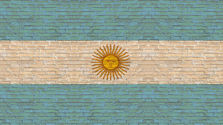 argentina flag: Argentina flag on old brick wall