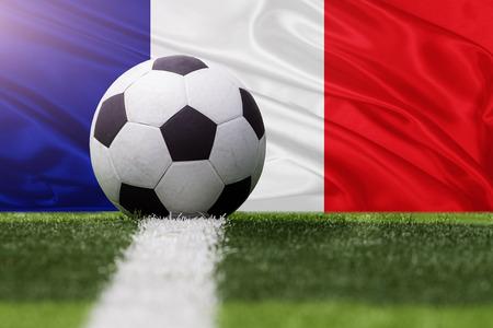 France soccer ball against France flag