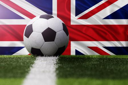 soccer ball against United Kingdom flag