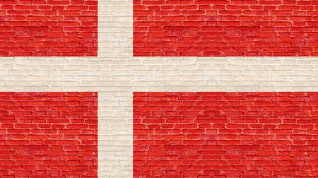 Denmark flag on old brick wall