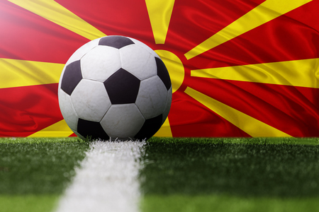 macedonia: soccer ball against Republic of Macedonia flag