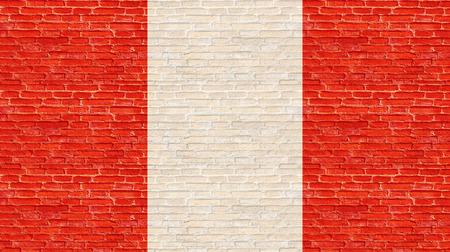 bandera de peru: bandera de Perú en la pared de ladrillo vieja