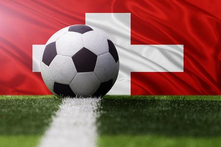soccer ball against Switzerland flag Standard-Bild
