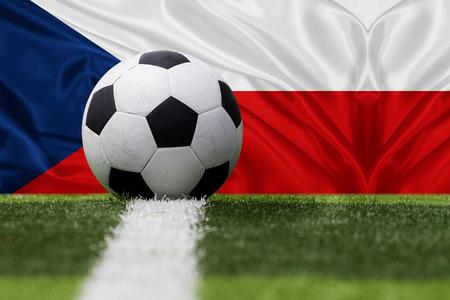 czech republic flag: Czech Republic soccer ball against Czech Republic flag