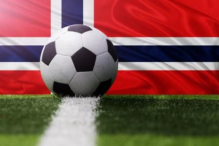 norway flag: soccer ball against Norway flag