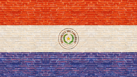 Paraguay flag on old brick wall