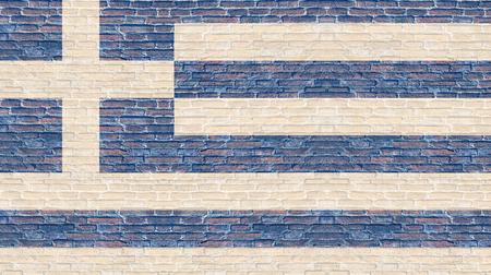 Greece flag on old brick wall