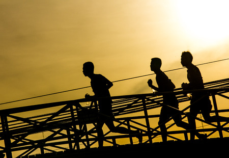 jogger: jogger in sunset