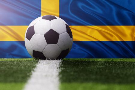 soccer ball against Sweden flag