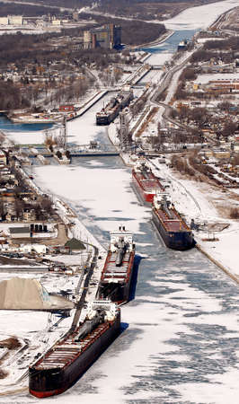 Port Colborne, Ontario, Canada. Harbour in the winterspring of 2006 with ships docked for winter. Stock Photo