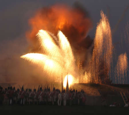 The re enactment of the Siege at Fort Erie from the War of 1812 at Fort Erie, Ontario, Canada, August 122006. Showing the explosion in the garrison.