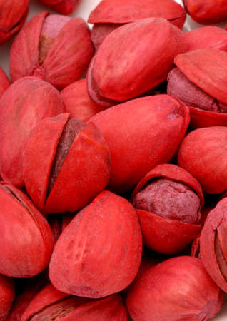 Macro photo of Red Pistachios, salted. Stock Photo
