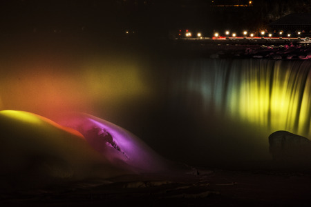 Lights on the Horseshoe Falls in Niagara Falls, Ontario, part of the Winter Festival of Lights display.
