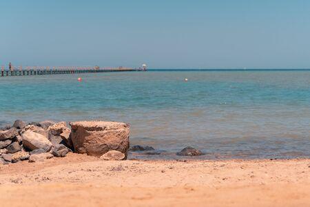 Long wooden pier into the sea. El Gouna. Egypt. Imagens