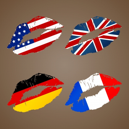 german french usa uk lips Vector
