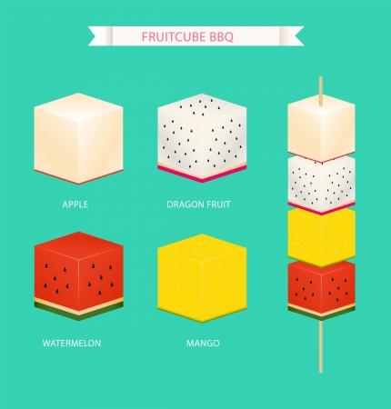 fruit du dragon: cube fruit bbq Illustration