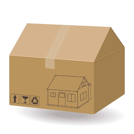 House in the box. New house concept. Real estate 3d illustration  Vector