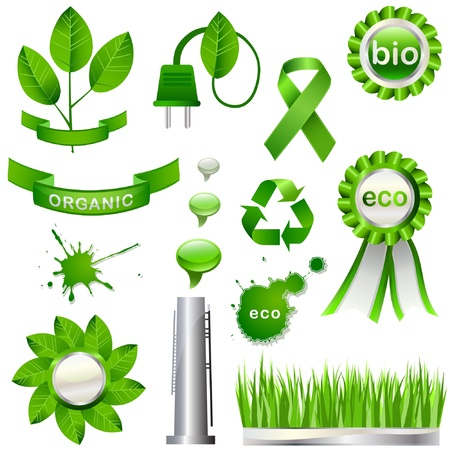 Collection of green eco-icons Vector