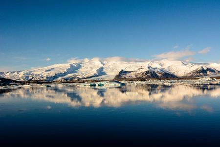 glacial: Jokulsarlon glacial lagoon and reflection in Iceland