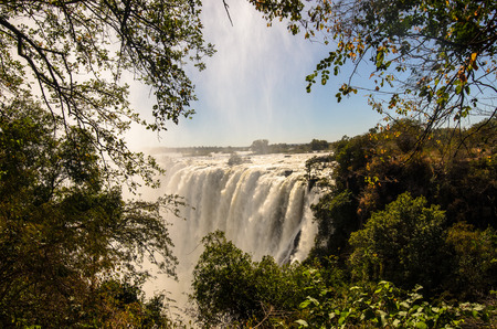 zambian: Victoria Falls in full flow from the Zambian side Stock Photo
