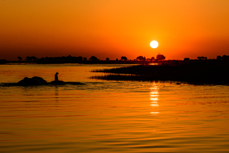chobe: African sunset on the Chobe river Stock Photo
