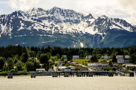 alaska scenic: view of Petersburg from the sea Editorial