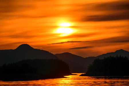 alaska scenic: Alaskan sunset taken in the inside passage Stock Photo