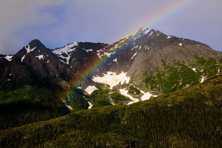 alaska scenic: End of the Rainbow over the mountains
