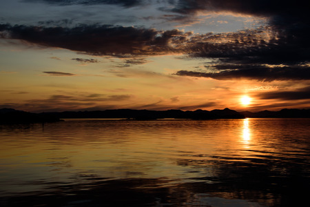 alaska scenic: Sun setting in the inside passage Stock Photo
