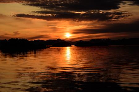 alaska scenic: Sunset in the inside passage,Alaska