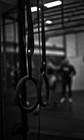 Rings in a crossfit gym
