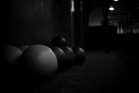medical balls in a gym crossfit