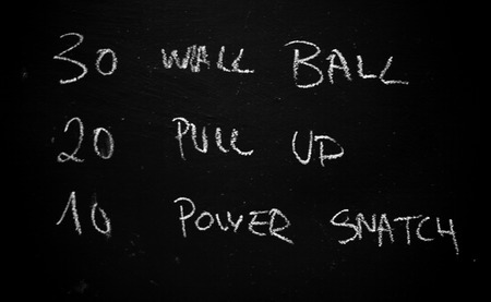 workout of the day on a blackboard in a crossfit gym Stock Photo