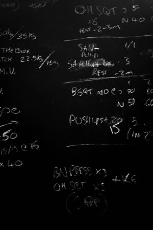 workout of the day on a blackboard in a crossfit gym / WOD Stock Photo