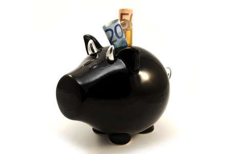 Euro banknotes in black piggy box photo
