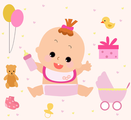 Illustration of a cute girl and her toy Stock Vector - 6339286