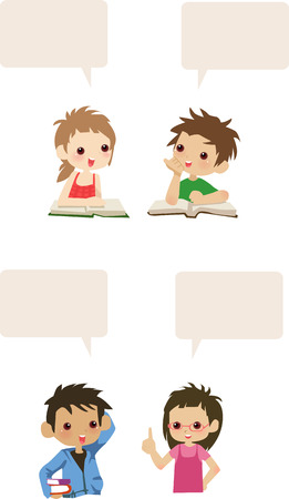 computer education: Vector illustration of three cute kids talk Illustration