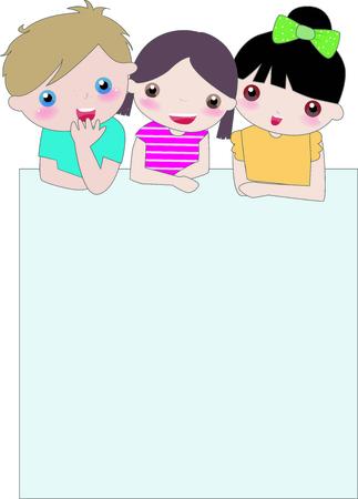 Ilustración de niños muy lindos y banner