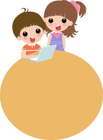 Kids at Computer cartoon artwork line-art Vector