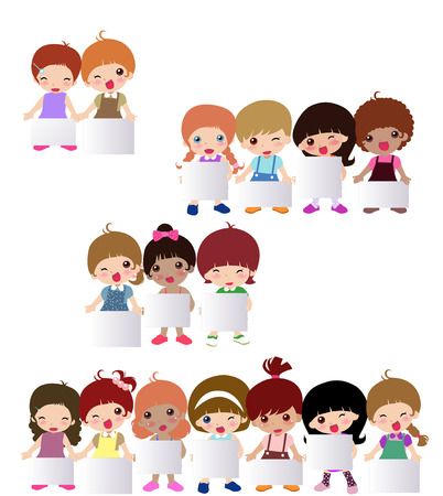 simple girl: illustration of very cute children and banner Illustration