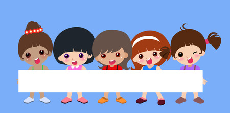 walk board: illustration of very cute children and banner Illustration