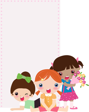 futuristic girl: illustration of very cute children and banner Illustration