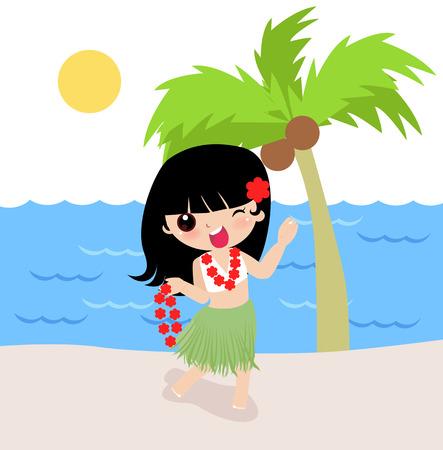 Illustration of a cute Hawaiian girl with flower Stock Vector - 6347675