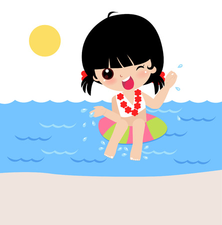hawaiian culture: Illustration of a cute girl in Lifebuoy  Illustration