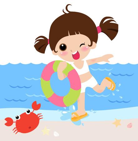 vientre femenino: Chica tomar una boya de aire en vacaciones