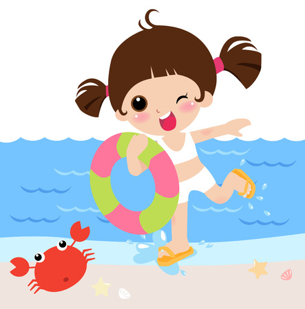 Girl take a air buoy in holiday  Stock Vector - 6347672