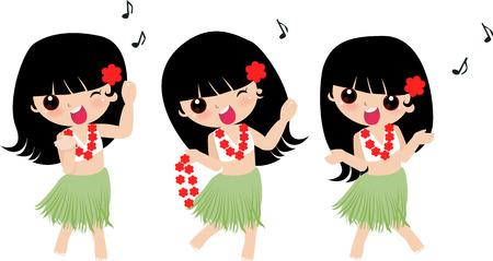 Illustration of a cute Hawaiian girls-dancering Stock Vector - 6347676