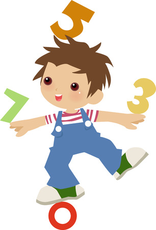 number cartoon: illustration of a very cute boy and math Illustration