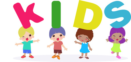 Illustation of a group of children standing and  letters Vector