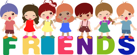 infants: a group of children standing on the letters Illustration